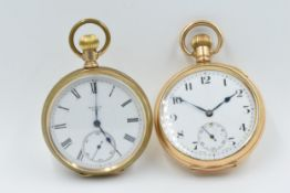 Gold plated open face pocket watch by Elgin, USA, the enamel dial with Roman numerals and subsidiary