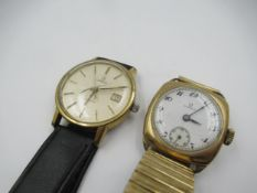 9ct Gold cushion cased Omega wristwatch with enamel dial, Roman numerals and subsidiary seconds, the