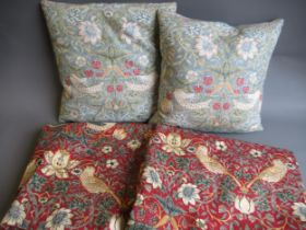 Pair of Strawberry Thief curtains, 54ins x 66ins, together with two matching cushions