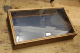 Two pine table top display cases, 21ins x 20ins and 29ins x 16ins