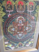 Far Eastern Thangka painted with Buddhistic figures in a central circle and bordered by other