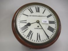Late 19th / Early 20th Century mahogany cased wall clock, having 9.5ins painted dial with Roman