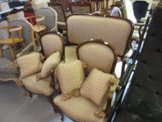 Reproduction French cherry wood drawing room suite comprising: two seat sofa and a pair of open