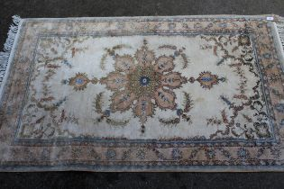 Small Indo Persian rug with lobed medallion and plain design with borders, 5ft x 3ft approximately