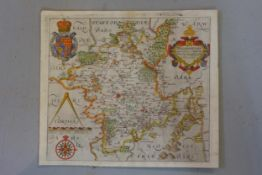 Antique hand coloured map titled, ' Wigorniensis ', 11ins x 12.5ins and a antique hand coloured