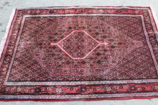 20th Century Senneh style rug with a lobed medallion and all-over Herati design with borders, 5ft