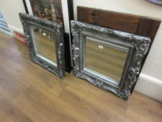 Pair of reproduction silvered composition wall mirrors, 24ins square