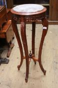 Reproduction mahogany vase stand with marble inset top