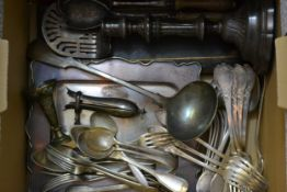 Quantity of various plated flatware and other items to include: carving set, ham bone holder, plated