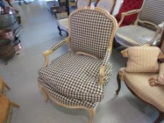 Near pair of late 20th Century, limed beechwood and blue check upholstered open armchairs, in 18th