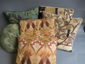 Group of six various cushions, including Hera Klimpt and House of Hackney etc