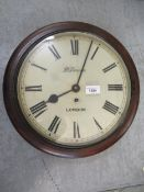 Early 20th Century mahogany dial clock with 12in painted dial, having Roman numerals, inscribed J.