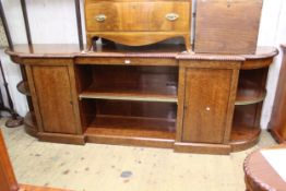 Large reproduction plum pudding mahogany, inverted breakfront sideboard with central shelf,