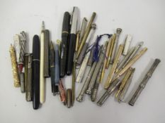 Collection of silver gilt metal and other propelling pencils, fountain pens etc. Two hallmarked