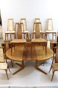 Scandinavian teak dining room suite comprising: set of eight ' Eva ' chairs (six plus two) by