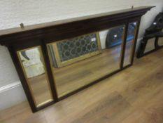 Late Victorian walnut three glass overmantel mirror, together with another overmantel mirror (with