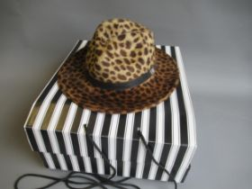 Walter Wright ' The London ' wide brimmed leopard fur felt fedora hat, complete with original
