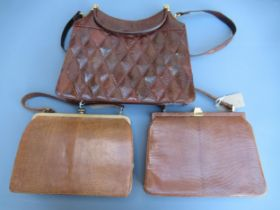 Two Mappin & Webb simulated snake skin leather handbags and another similar handbag