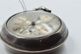 Small late George III silver pair cased pocket watch, the three colour dial with Roman numerals