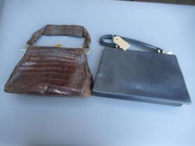 Ladies vintage leather handbag with gilt brass clasp (at fault) and another later blue leather
