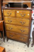 Early 20th Century mahogany chest of two short over three long drawers with brass swan neck