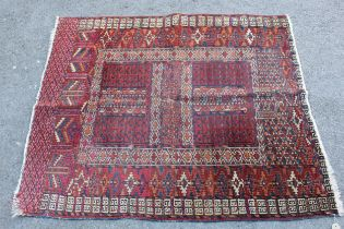 Small Afghan Ersari prayer rug with a wine red ground, 4ft 6ins x 3ft approximately (some wear)