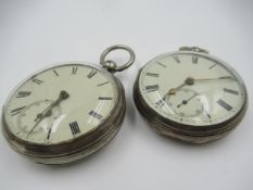 Silver cased open face keywind pocket watch, the enamel dial with Roman numerals and subsidiary