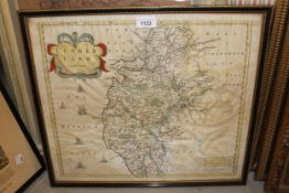 Robert Morden, hand coloured map of Cumberland together with three reproduction framed maps