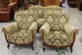 Edwardian marquetry inlaid three piece sitting room suite covered in green figured fabric and raised