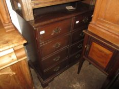Reproduction mahogany two door television cabinet in the form of a chest of drawers