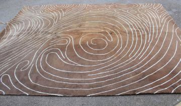Modern chocolate brown and duck egg blue rug 8ft x 11ft