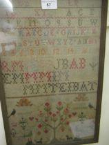 19th Century alphabet and pictorial sampler, 16.5ins x 10.5ins, gilt framed