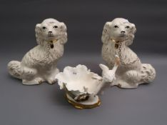 Moore Bros. cherub mounted bowl (restored), together with a pair of Staffordshire style pottery