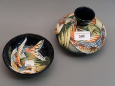 Modern Moorcroft squat baluster vase decorated with Koi Carp, 2002, 4ins high (no box) together with