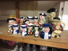 Large Wood & Sons replica of a Ralph Wood Toby jug, together with a collection of fifteen other