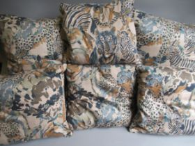 Two Large Animal print cushions, 24ins square and four Interior Fabric Design Inc. 1990 cushions