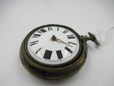 George III gilt metal and tortoiseshell pair cased pocket watch, the enamel dial with Roman