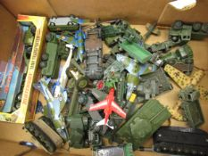 Quantity of various diecast metal military model vehicles including Dinky and Corgi
