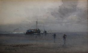 J. TIM MACDONALD (Fl.1889-1922) BRINGING IN THE CATCH; FISHING BOATS ON A SHORE A pair, both