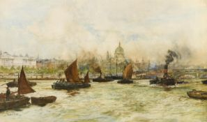 CHARLES DIXON (1872-1934) TUGS ON THE THAMES NEAR ST PAUL'S Signed and dated 19, watercolour with