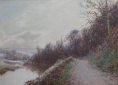 JOHN WHITE (1851-1933) THE RIVERSIDE TRACK Signed, watercolour and bodycolour 25 x 35cm. ++ Slight