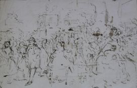 WILLIAM POWELL FRITH, RA (1819-1909) SKETCH, POSSIBLY FOR `THE PRIVATE VIEW` (1883) Pen and ink,