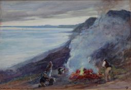JOHN WHITE (1851-1933) BURNING COOCH, BRANSCOMBE CLIFF Signed with monogram, inscribed with title