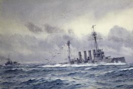 ALMA CLAUDE BURLTON CULL (1880-1931) THE SINKING OF HMS WARRIOR AFTER JUTLAND Signed and dated 1916,