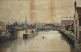 HARRY FRIER (1849-1921) TAUNTON: ST JOHN'S CHURCH AND GASHOLDER FROM THE TOWN BRIDGE; EXMOOR SCENE