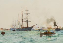 CHARLES DIXON (1872-1934) THE ENTRANCE TO PORTSMOUTH HARBOUR Signed, inscribed with title,