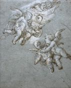 ITALIAN SCHOOL, Circa 1700 FLYING PUTTI Pen and brown ink, heightened with white, on blue paper 22.5
