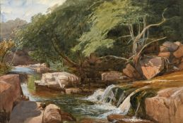 JOHN MIDDLETON (1827-1856) ON THE RIVER NEATH Inscribed and dated Neath Aug 19.55., watercolour
