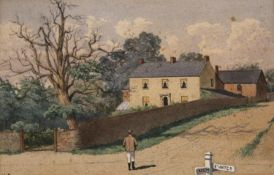 HARRY FRIER (1849-1921) HOUSE AT A JUNCTION ON THE BRIDGWATER ROAD, NEAR CREECH Signed and dated