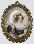 ENGLISH/SCOTTISH SCHOOL, Circa 1850 PORTRAIT OF A CHILD WITH A DOG The child in a plaid and lace